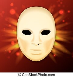 llustration of realistic carnival or theater mask on abstract background - vector