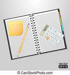 Notebook with sheets in a cage yellow pencil and calculator.
