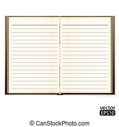 open old notebook isolated on white. Vector illustration