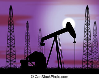 Oil Wells Means Power Source And Drilling