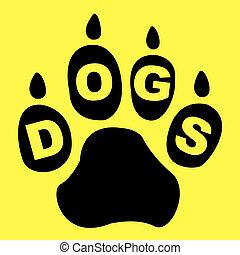 hunden, Pfote, Mittel, doggie, Stammbaum, und, junger Hund,
