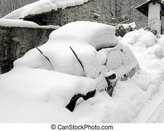 Car covered under heavy snow