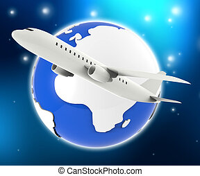 World Plane Represents Travel Guide And Air - World Plane...