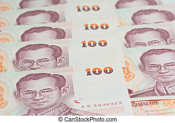 100 Thai baht money banknotes background for bussiness...