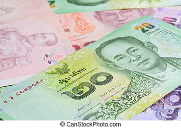 variety Thai baht money banknotes background for bussiness...