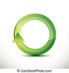 green rotating cycle illustration design over a white...