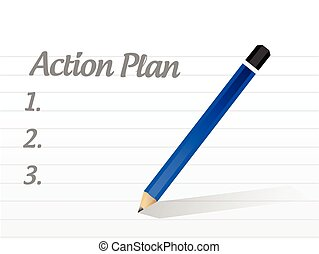 action plan list illustration design over a white background