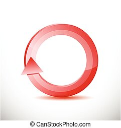 red rotating cycle illustration design over a white...