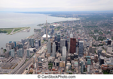 Aerial view of downtown Toronto in overcast weather