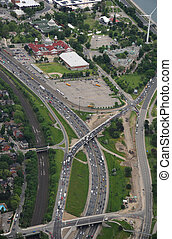 Aerial view of the expressway - Aerial view of Gardiner...