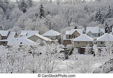 hiver, matin, dans, les, petit, ville,