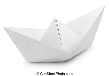 White Paper Boat - Origami White Paper Boat Isolated on...