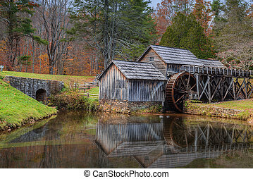 Mabry Mill a restored gristmill on the Blue Ridge Parkway in...