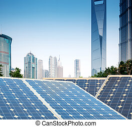 Shanghai Bund skyline landmark ,Ecological energy renewable sola