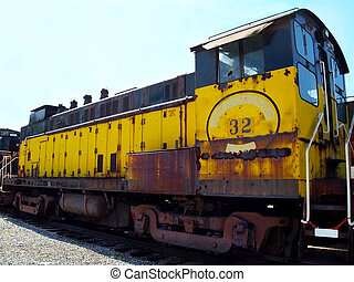 Vintag e Yellow Train Engine - A rusting aging vintage train...