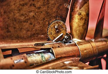 Vintage torpedo - Details of old metal torpedo propeller and...