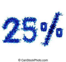 Twenty-five percent of the blue flame isolated on white...