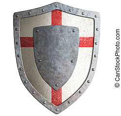 Old templar or crusader metal shield isolated