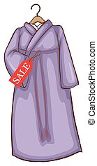 A lavender Asian dress for sale - A simple drawing of a...