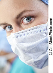 Female Doctor In Surgical Mask - Close up portrait of a blue...