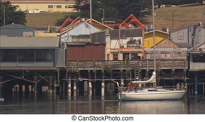 WS Monterey Harbor Sailboat - WS of Monterey Harbor in...