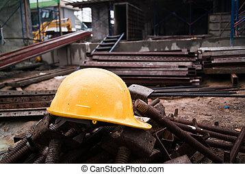 construção, capacete,