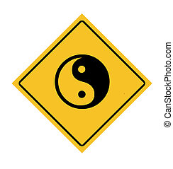 Yin and Yang road sign - Yellow diamond yin and yang road...