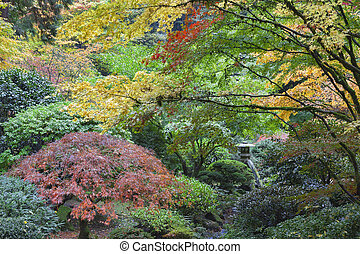 Stone Lantern Among Japanese Maple Trees in Fall Season at...