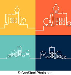 Color flat contours of the urban landscape.