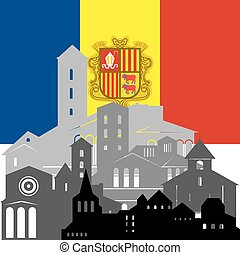 Andorra - State flags and architecture of the country....