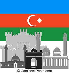 Azerbaijan - State flags and architecture of the country...