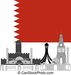 Bahrain - State flags and architecture of the country....