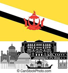 Brunei - State flags and architecture of the country....