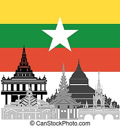 Burma - State flags and architecture of the country...