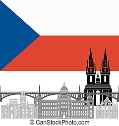 Czech Republic - State flags and architecture of the country...