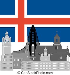 Iceland - State flags and architecture of the country...