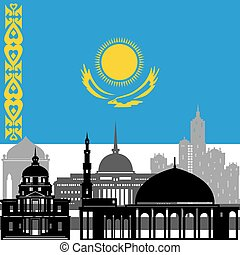 Kazakhstan - State flags and architecture of the country...