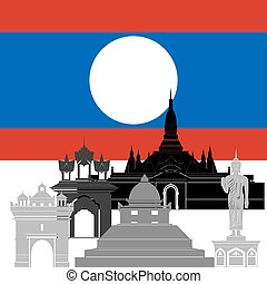 Laos - State flags and architecture of the country....
