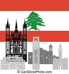 Lebanon - State flags and architecture of the country....