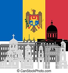 Moldova - State flags and architecture of the country....