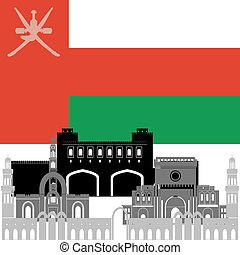Oman - State flags and architecture of the country...