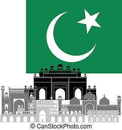 Pakistan - State flags and architecture of the country...