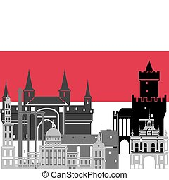 Poland - State flags and architecture of the country...
