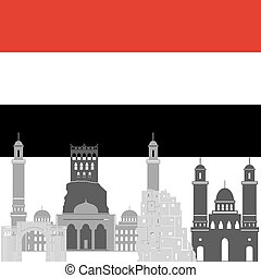 Yemen - State flags and architecture of the country...