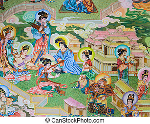 Chinese mural painting art - Traditional Chinese mural on...