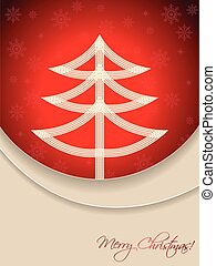 Christmas card design with tire tree