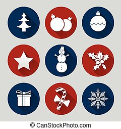 Flat christmas icon set - Christmas icon set of nine flat...