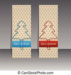 Christmas label design with paperclip trees