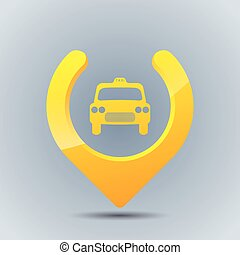 Cool taxi gps pointer on blue grayish background