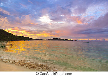 Tropical beach Cote d'Or at sunset - Seychelles - Tropical...